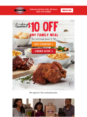 Boston Market - $10 Off Any Family Meal Purchase - 2 Days Only!