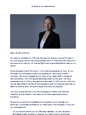 Air France - Message from Anne Rigail – Chief Executive Officer