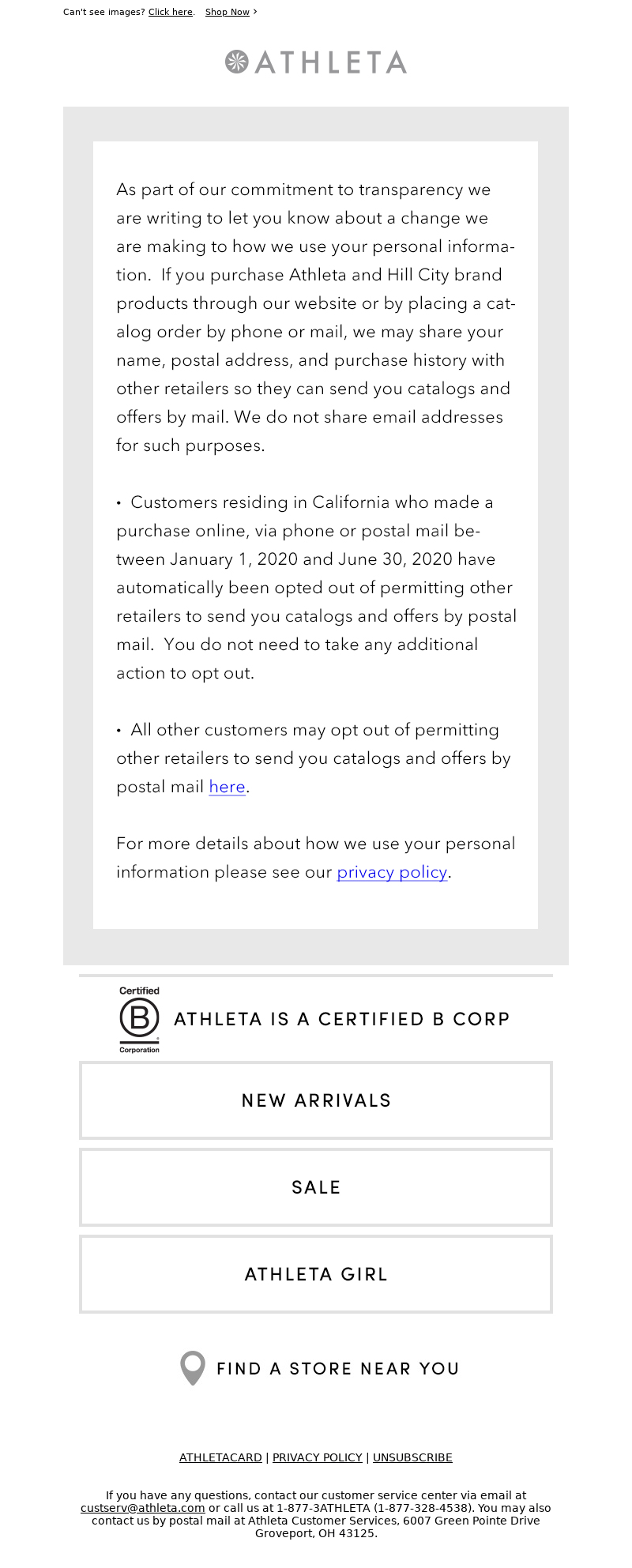 Athleta - Update to our Privacy Policy
