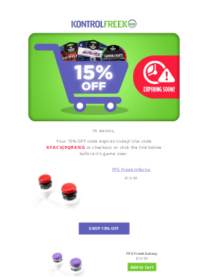KontrolFreek - 24 Hours Left! Checkout Now for 15% OFF your cart!