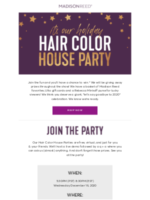 Madison Reed - Parties and Prizes inside. RSVP to win!