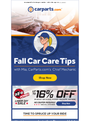 CarParts - Fall Season marks the perfect time for car care