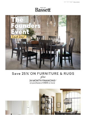 Bassett Furniture Industries - You Have 'Til Tonight To Get 25% Off