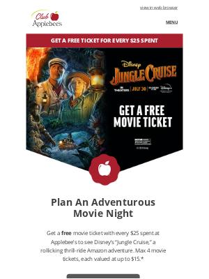 "Applebee's - Embark on an adventure with Disney's ""Jungle Cruise"""