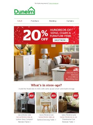 Dunelm (UK) - 20% off furniture steals