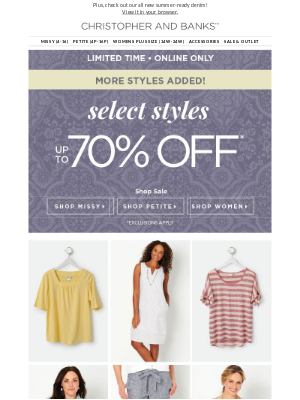 More Styles Added at 70% off!