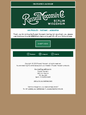 Russell Moccasin Co. - Your 10% Off discount code is here!