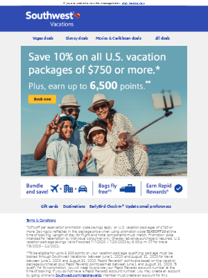 Save 10% on all U.S. vacation packages