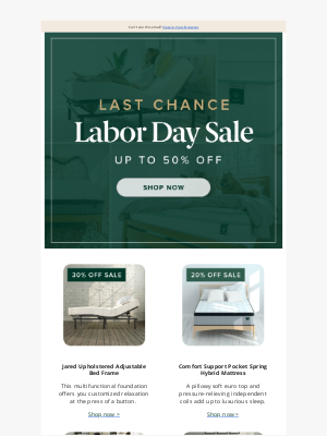 Zinus - Last chance - Relax in comfort with our Labor Day Deals