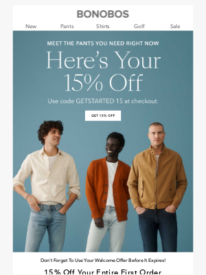 Bonobos - Get 15% Off Our MVPs, Look Great Forever