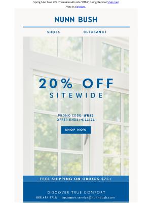 Nunn Bush - Sitewide Sale! 20% Off
