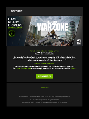 NVIDIA - NVIDIA GeForce Game Ready Driver for Call of Duty: Warzone, Call of Duty: Modern Warfare and Star Wars: Squadrons NOW AVAILABLE