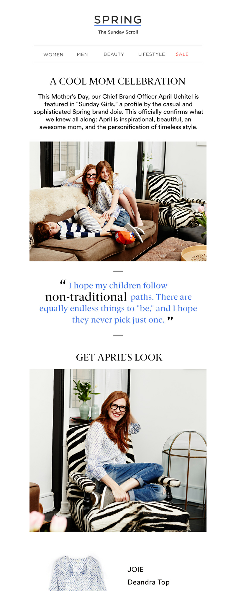 "This Mother's Day, our Chief Brand Officer April Uchitel is featured in ""Su"