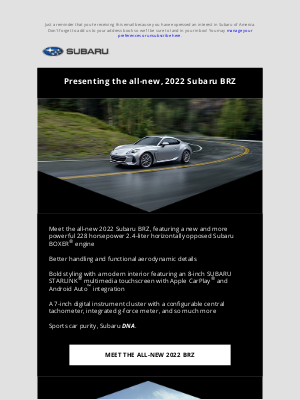 Subaru of America - Presenting the all-new, 2022 Subaru BRZ