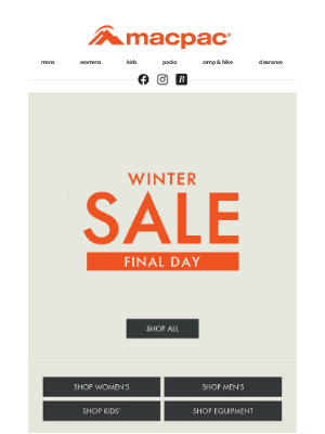 Macpac (New Zealand) - Winter sale ends TONIGHT!