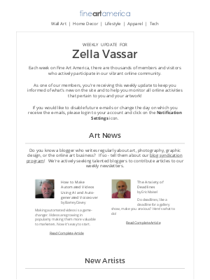 Fine Art America - Fine Art America - Weekly Update for Zella Vassar
