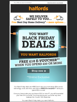 Halfords (UK) - Black Friday Deals + £10 e-voucher!