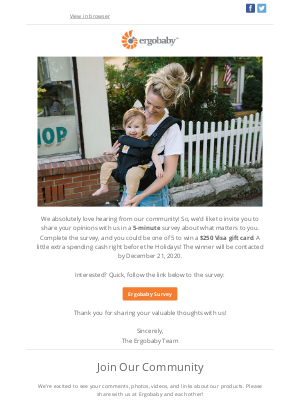 Ergobaby - Win A $250 Gift Card, Just Share Your Opinion! 😊