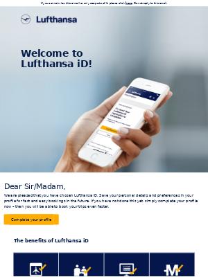 Lufthansa iD: your registration was successful
