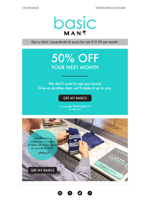 Win back email with discount from Basic Men