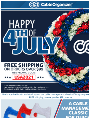 CableOrganizer - Celebrate the Fourth with free shipping