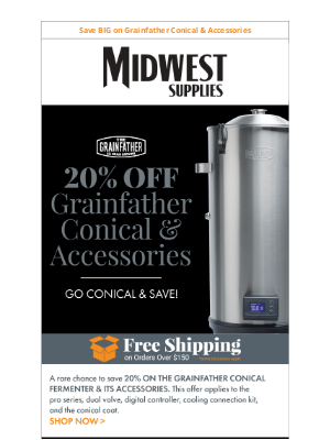 Midwest Supplies - Save 20% Now: Grainfather Conical Fermenter