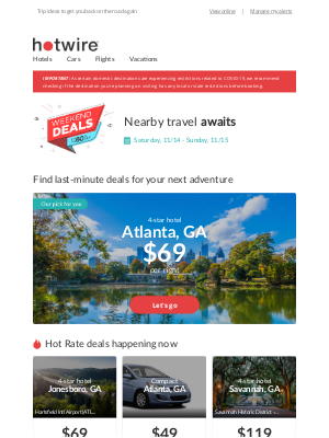 Hotwire - Upcoming adventure, confirmed: sending you some ❤️ with local travel inspiration