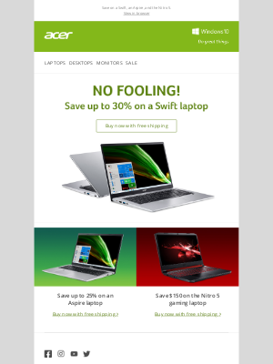 Acer - No fooling! Save up to 30% on a Swift laptop.