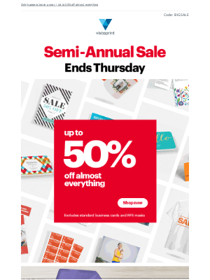 Vistaprint - Ready…steady…shop! Our Semi-Annual Sale is on 🚀