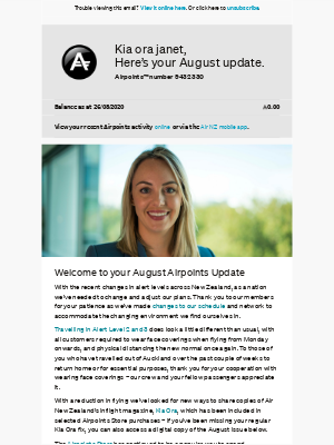 Air New Zealand - janet, your August Airpoints Update