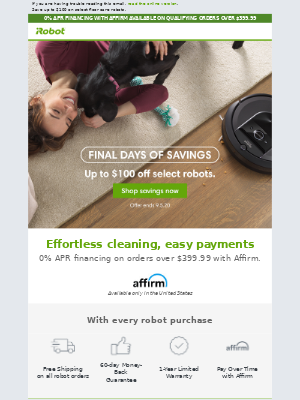 iRobot - Final days of savings: Take cleaning off your to-do list