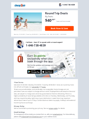 CheapOair - ✔ Confirmed: Fly Round Trip from $40.99