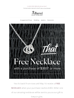Allurez - Free Necklace with $300 purchase*