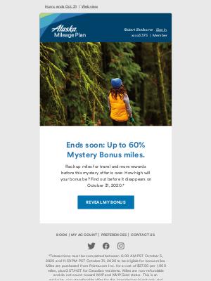 Alaska Airlines - Mystery Bonus of up to 60% bonus miles!