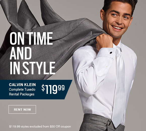 290833917e On time and in style. Calvin Klein complete tucedo rental packages  119.99  Rent Now.
