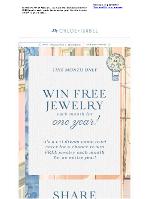 FREE JEWELRY for an Entire Year!