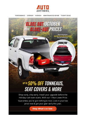 AutoAnything - New Close-Out Specials: Tonno Pro & Husky on Sale Now!