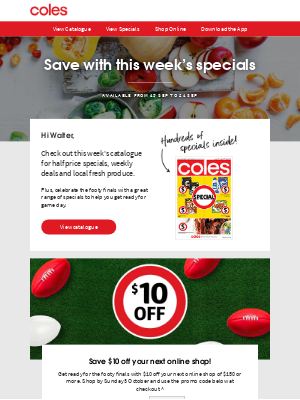 Coles (AU) - Walter, save on your next shop with this week's specials