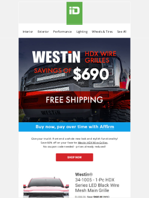 CARiD - Save up to $690 on your favorite Westin® HDX Wire Grilles