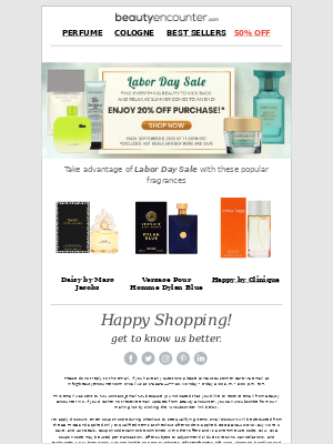 Beauty Encounter - Save on faves with 20% off*   Labor Day Sale