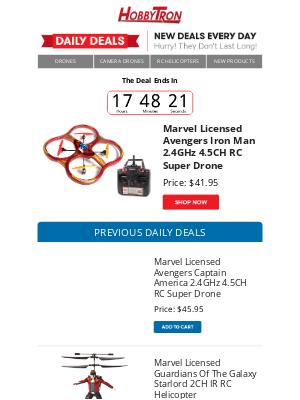 HobbyTron - $41.95 -Marvel Licensed Avengers Iron Man 2.4GHz 4.5CH RC Super Drone