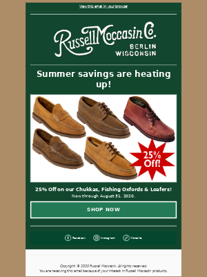 Russell Moccasin Co. - Summer savings are heating up!