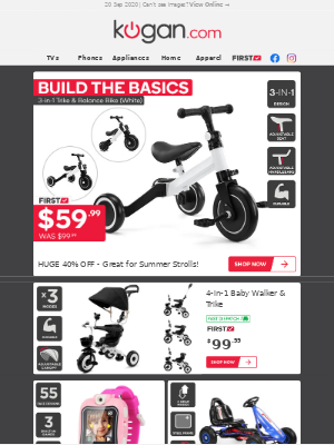 Kogan (AU) - Enjoy Summer Strolls | 3-in-1 Trike & Balance Bike $59.99 (Was $99.99)!