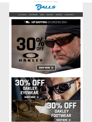 Galls - Exclusive Offer + 30% off all Oakley