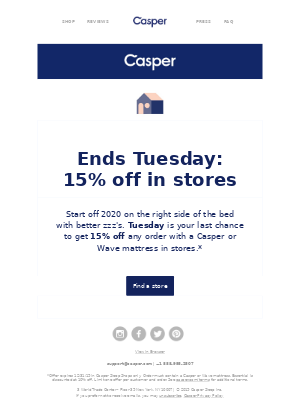 2 days left: 15% off in stores!