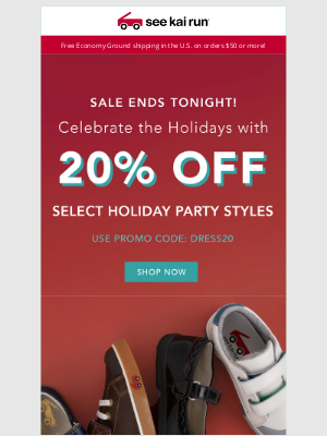 See Kai Run - Sale Ends Tonight - 20% Off Select Holiday Styles