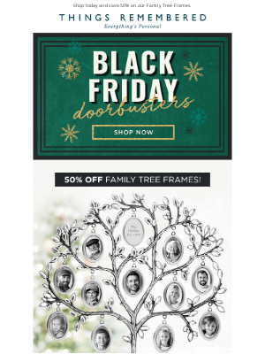 Things Remembered - Don't Miss Out On Our Doorbuster Deal: 50% Off Family Tree Frames!