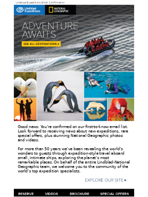 Lindblad Expeditions - Sign-up confirmed: You're on the list