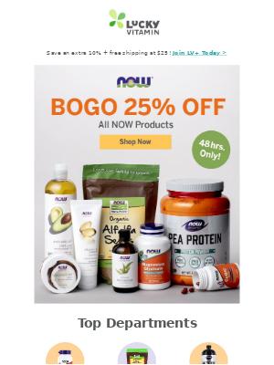 2-Days: All NOW Brands BOGO 25% Off
