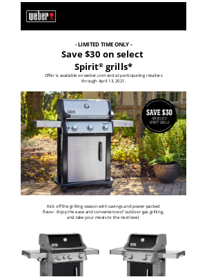 Weber - Limited Time Offer to Get in the Spirit of Grilling